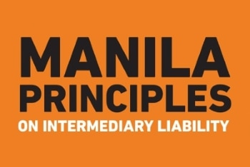 manila principles lettering in an orange background