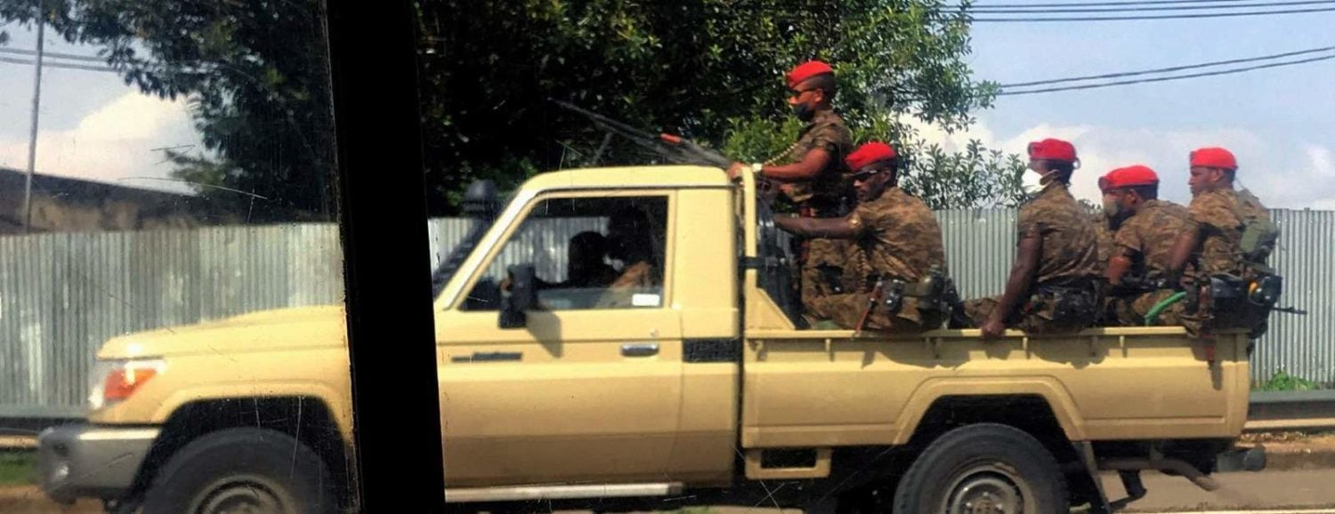 Ethiopian military ride on their pick-up truck as they patrol the streets following protests in Addis Ababa June 2nd 2020.