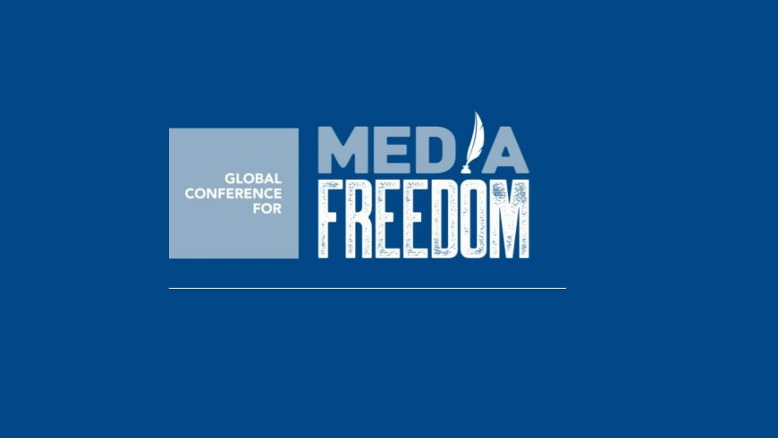media freedom conference logo on blue background