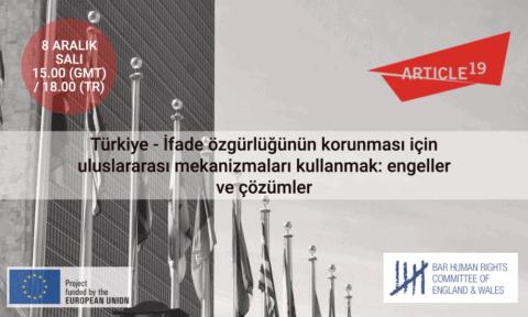 Çevrimiçi etkinlik: Türkiye – İfade özgürlüğünün korunması için uluslararası mekanizmaları kullanmak: engeller ve çözümler - Protection