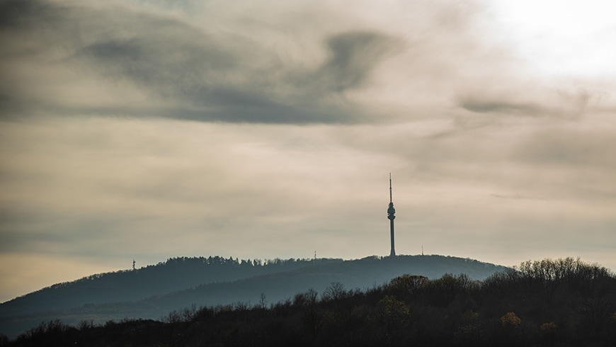 A communications tower in Belgrade Serbia