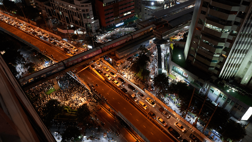A road in Bangkok during a pro-democracy protest